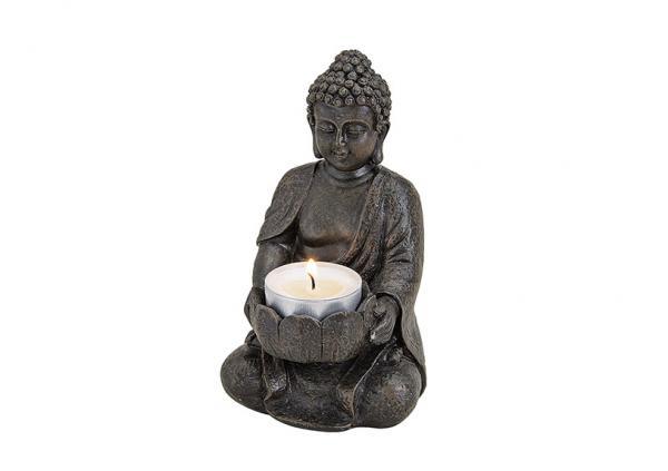 Buddha mit Teelichthalter in braun aus Poly, B9 x T8 x H14 cm