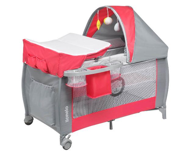 Lionelo Sven Plus in rot grau Kinder Baby Reisebett mit Wickeltisch Kinderbett Babybett Kind Kinder Baby Babies Eltern Vater Mutter Schlaf