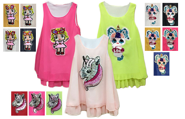 Mix Posten Kinder Mädchen Trend Tunika Pailetten Einhorn Unicorn Oberteil Kindershirt Shirt Top - 5,90 Euro