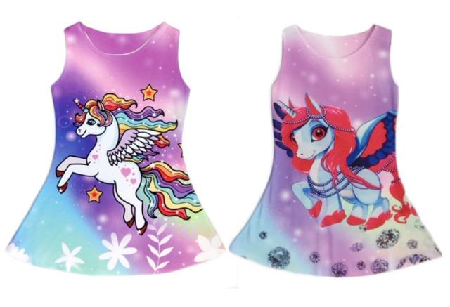 Kinder Trend Mädchen Kleid Einhorn Unicorn Pferd Longshirt 2-12 Jahre Sweatshirt Oberteil Kindershirt Kurzarm