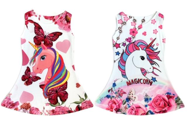 Kinder Trend Mädchen Kleid Einhorn Unicorn Pferd Longshirt 2-12 Jahre Sweatshirt Oberteil Kindershirt Kurzarm - 5,90 Euro