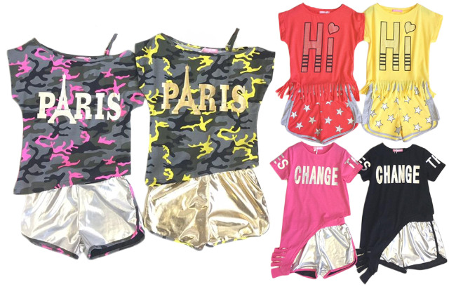 Kinder Mädchen 2teiliges Sport Set T-Shirt und kurze Hose Anzug Shirt Shirts Kurzarm Kindershirts Oberteil Mix Posten nur 6,90 Euro