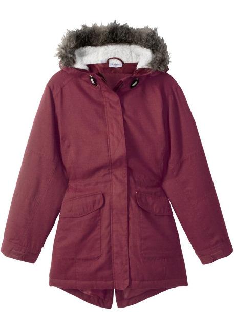 Kinder Parka Mädchen Jacke Übergangsjacke Winter mit Kapuze rot