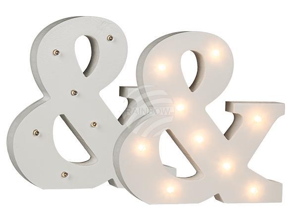 Beleuchtetes Holz-Zeichen &, mit 9 LED, ca. 16 cm