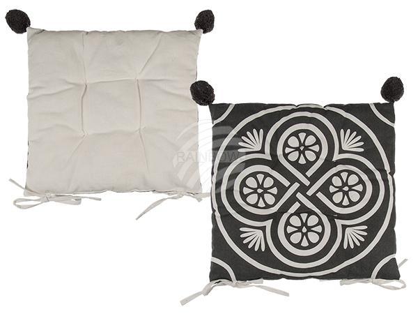 Graues Sitzkissen mit weißen Muster