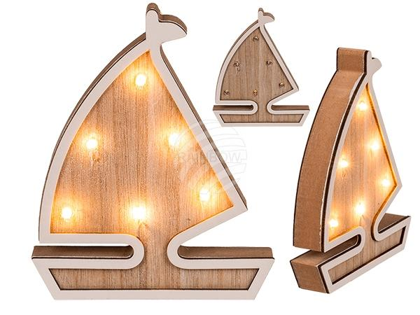 Holz-Segelschiff mit 6 warmweißen LED