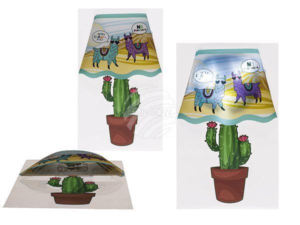 Kunststoff-Wandsticker, Llama auf Kaktus-Leuchte
