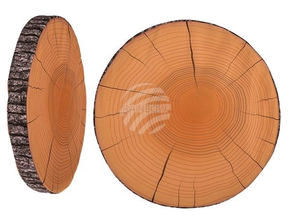 Rundes Sitzkissen, Holzoptik, 100% Polyester