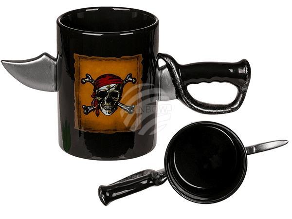 Steingut-Becher, Pirat mit Schwert-Griff