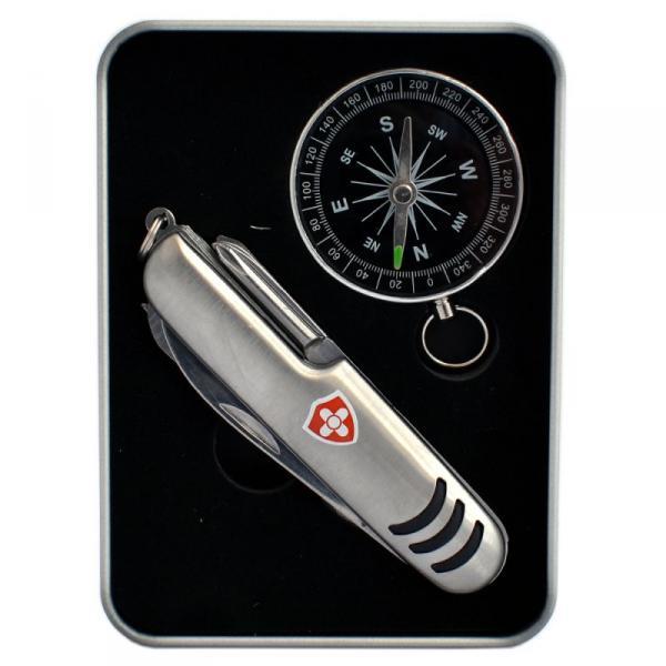 Taschenmesser & Kompass mit Logo in Metalldose