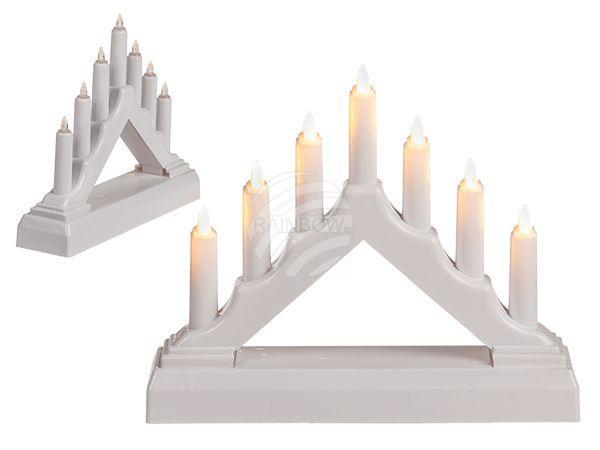 Weißer Kunststoff-Kerzenlichtbogen mit 7 LED