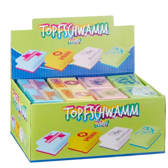 28-612211, Topfschwamm Funny, 11 x 7 cm, mit Griffleiste, Topfkratzer