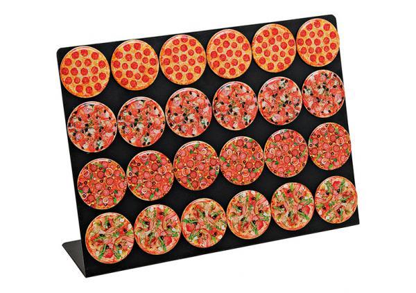 Magnet Pizza auf Tafel aus Kunststoff, 4-fach sortiert, 7 cm