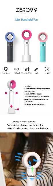 Handheld USB Ventilator Tischventilator Mini Leiser Fan Bladless Lüfter kühler