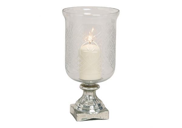 Kerzenhalter, Vase aus Glas Silber, klar (B/H/T) 17x32x17cm