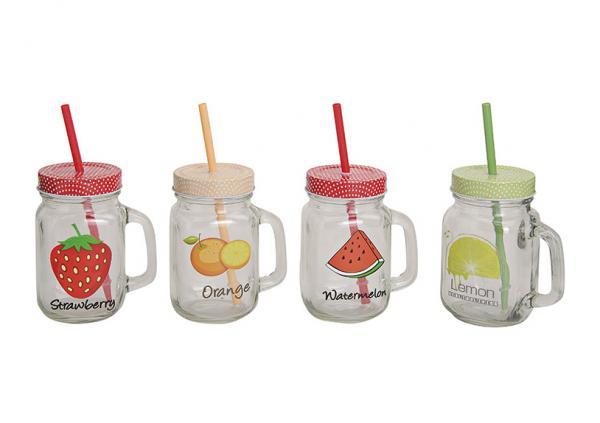 Trinkglas mit Strohalmdeckel, Obst motiv, 4-fach sortiert, B13 x T8 cm