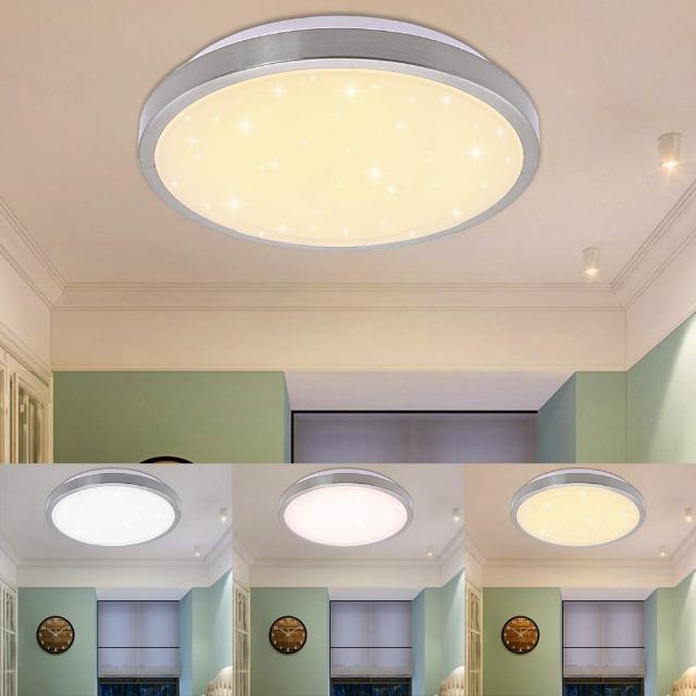 16W LED Deckenlampe Wohnzimmer Lampe Schlafzimmer Leuchte verschiedene 3in1 Farbwechselfunktion Sterneffekt Energieeffizienzklasse A ++