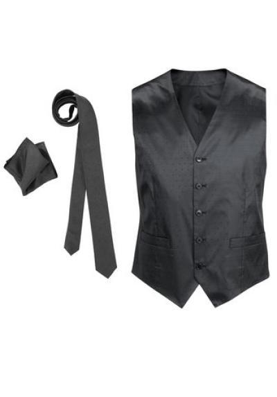 Herren Weste Krawatte Tuch Set Business Mode Anzug Restposten