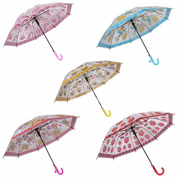 Kinder Regenschirm weiß Schmetterlinge Pferde