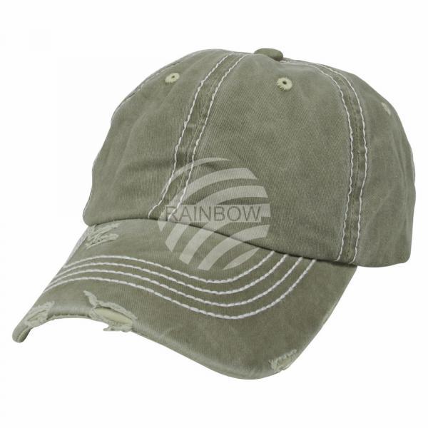 Vintage Retro Distressed Trucker Cap oliv grün Uni