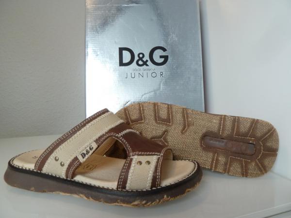 D&G Sandale L92532 Braun/Beige Leder/Textil G.33