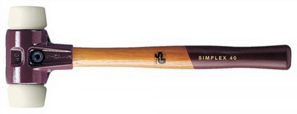 Schonhammer D. 40mm 610g Simplex Nylon weiß HALDER mit Holzstiel