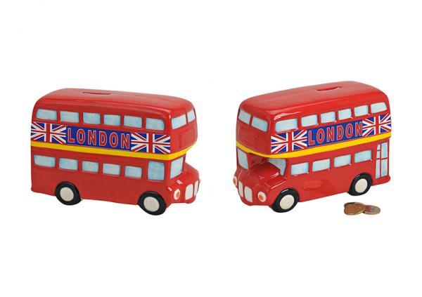Spardose Bus London aus Keramik, B19 x T8 x H12 cm