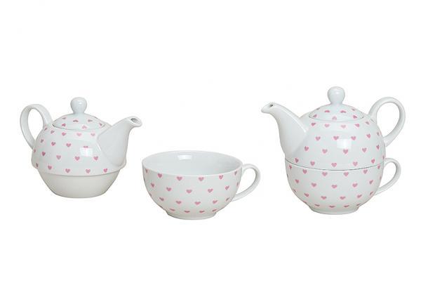 Teekannen-Set Pink Herzdekoration aus Porzellan, 2-teilig