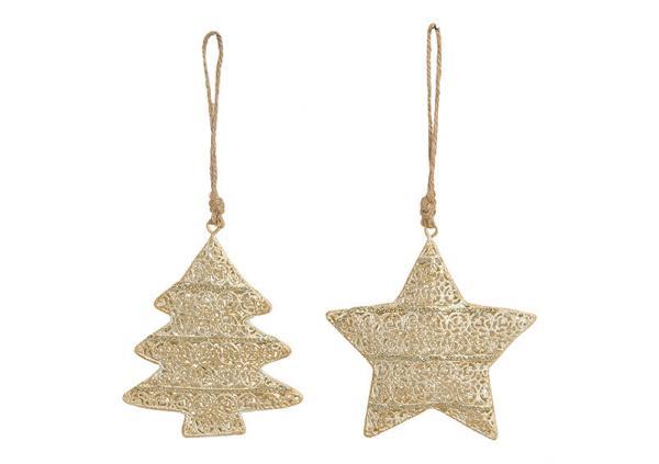 Weihnachtshänger Stern, Baum aus Metall Gold mit Glitter 2-fach, (B/H/T) 10x9x2cm