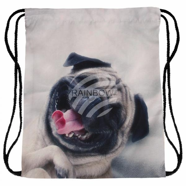 Gymbag Gymsac Rucksack beige Mops Hund