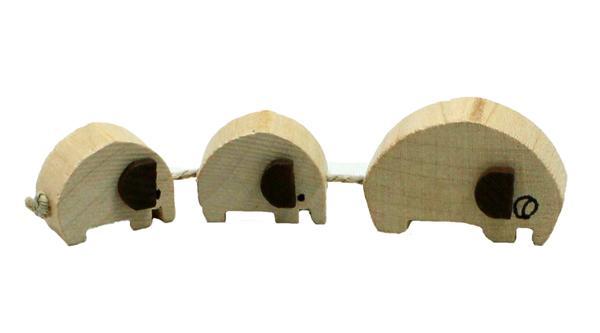 Elefantenzug mit 3 Elefanten Holzspielzeug ca 10 cm