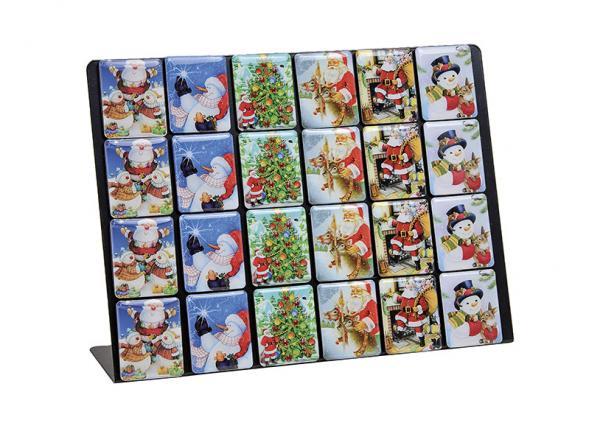 Magnet Weihnachtsmotiv auf Ständer, 6-fach sortiert, B4 x H5 cm