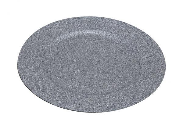 Teller Silber Glittet aus Kunststoff, B33 cm