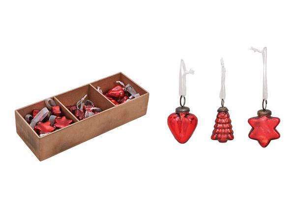 Hänger Herz, Stern, Baum aus Glas Rot 3-fach, (B/H/T) 5x5x2cm 36 Stk in Holz Fensterbox