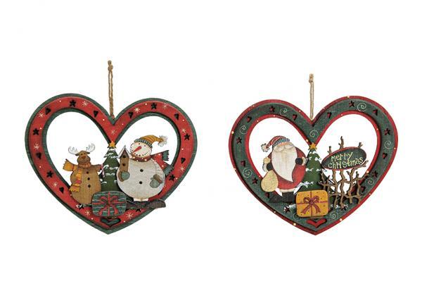 Weihnachtsanhänger Herz aus Holz, 2-fach sortiert, B21 x T17 cm