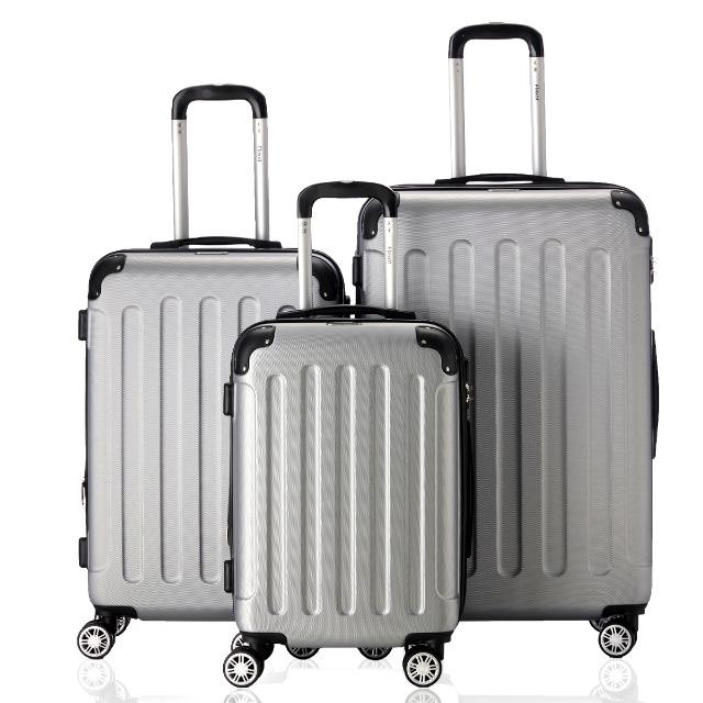 Flexot 2045 3er Hartschalen-Reisekoffer Set - Größen M L XL - Farbe Silber Mettalic