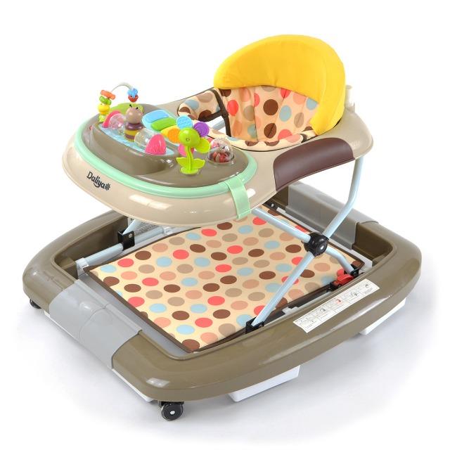 Daliya BEBISTEP 4in1 Spiel- und Lauflernwagen - Babywalker mit Musik- & Spielecenter & Esstisch - Farbe Braun-Grau-Gelb