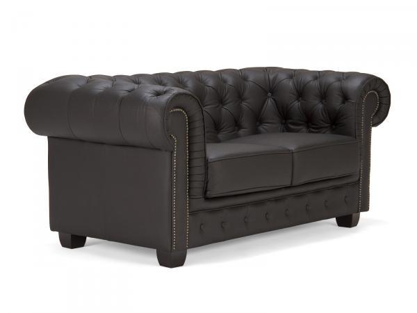Sofa Chesterfield 2Sitzer Echtleder schwarz