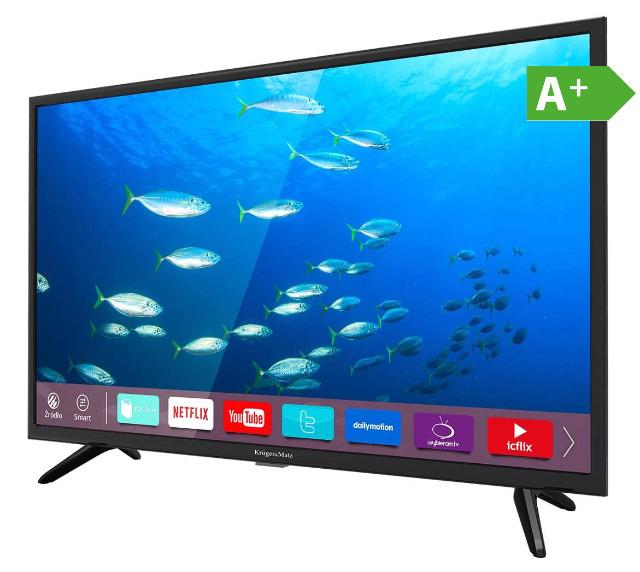 !Krüger & Matz KM0232-S 32 Zoll HD WLAN Smart TV Triple Tuner DVB-T2/S/C A+ USB Energieeffizienzklasse A+ Fernseher