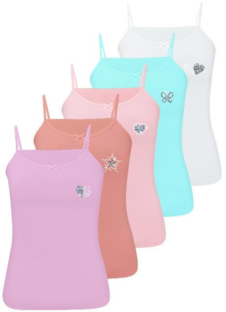 5er Pack Mädchen Unterhemden / Spagettiträger mit Strass &Glitzer aus Baumwolle 92-158