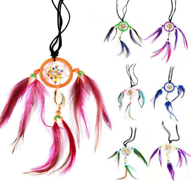 Schmuck Natur aus Bali - Kette Halskette Traumfänger Deko - Muschel Perlmutt Feder - Handarbeit - 160 Stück - ab 0,95 EUR/Stück