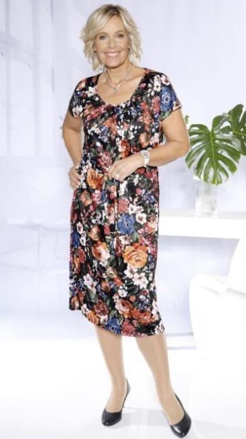 Gartenkleid mit Blumen-Druckmuster rundum