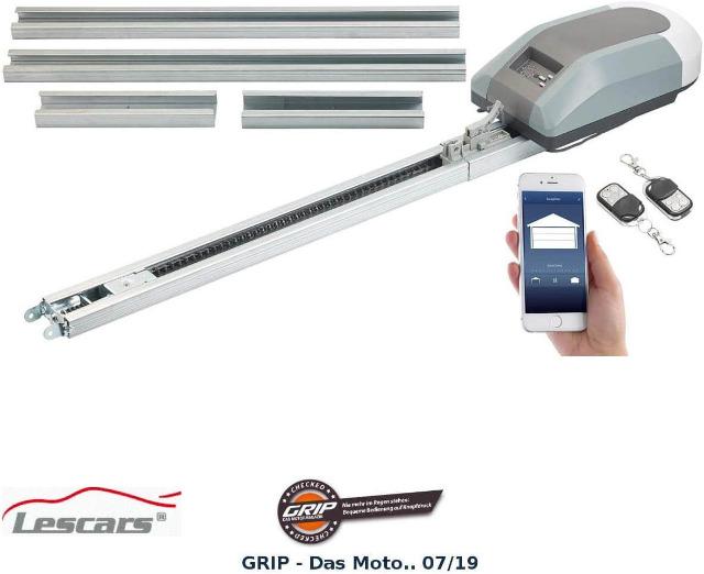 Lescars WLAN Garagentoröffner Garagentorantrieb für 15-m²-Tore, 1.000 N, App, Abschaltautomatik Appsteuerung Smartphone