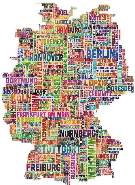 Karte,Deutschlandkarte im Vintage-Stil Shabby Chic, Wanddekoration