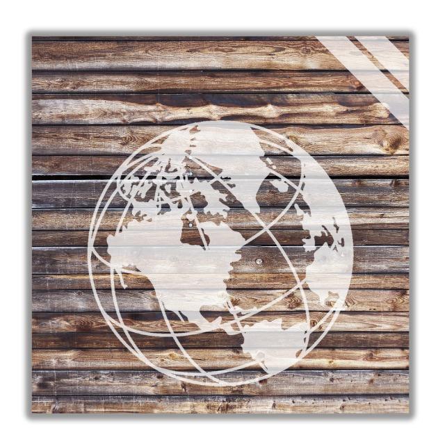 Wandbilder mit Weltkarte motiv, Wanddekoration aus Holz