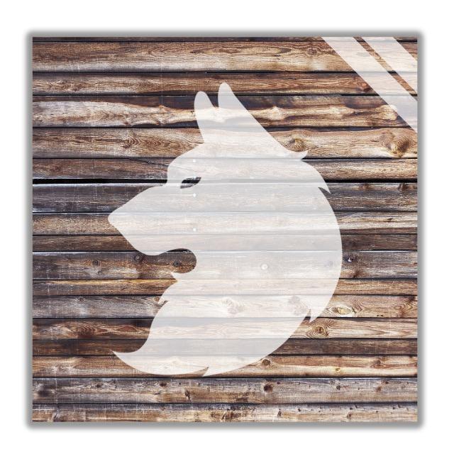 Wandbilder mit Wolf motiv, Wanddekoration aus Holz.