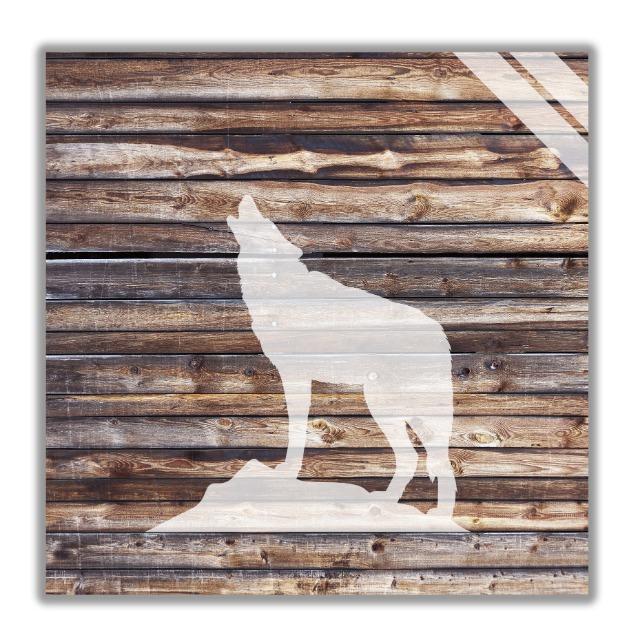 Wandbilder mit Wolf motiv, Wanddekoration aus Holz