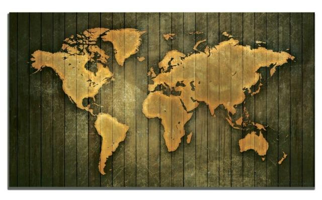 XXL Weltkarte gedruckt in Holz, XXL Weltkarte, Leinwand, Wandbild