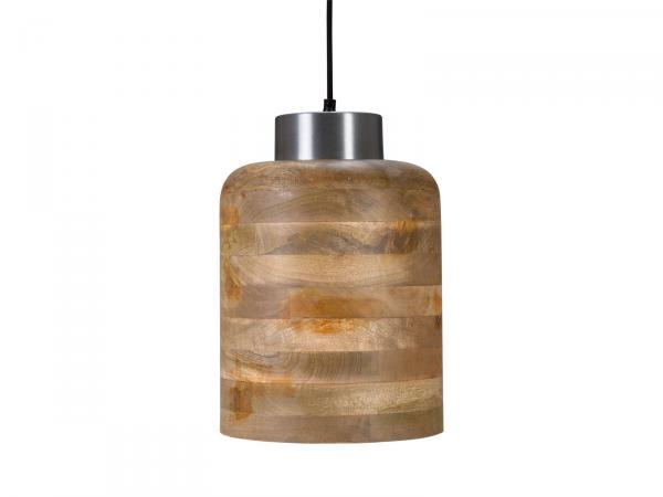 Hängeleuchte Holz Natur und Alu Antik 15x15x38