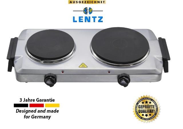 Lentz Doppelkochplatte Doppel Duo Kochplatte 1500 Watt + 1000 Watt silber Kochfeld TÜV geprüfte Markenqualität inkl Haltegriffen